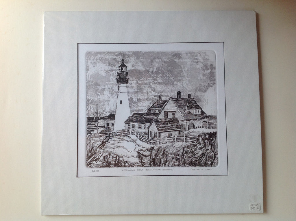 "62-150 ""Approaching  Storm - Portland  Head lighthouse ""- Matted Etching"