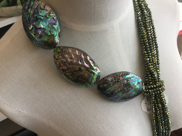 Paua shells  crystals   Locally handcrafted  necklace