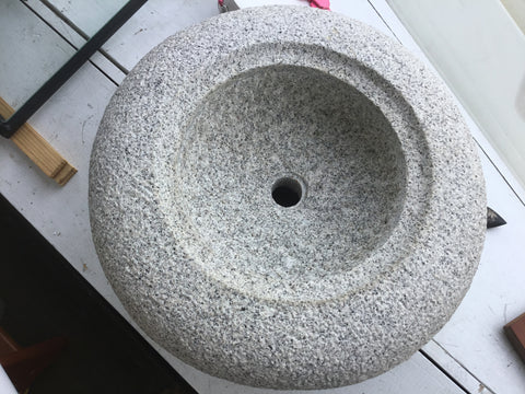 Traditional Japanese garden water basin  (Hand chipped granite )