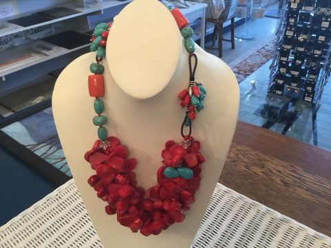 Coral  turquoise   Necklace  Locally handcrafted