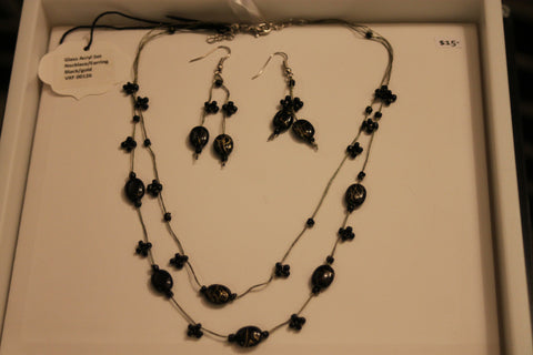 Glass Acryl Set Necklace/Earring - Black/Gold