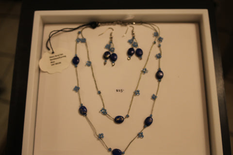 Glass Acryl Set Necklace/Earring - Blue