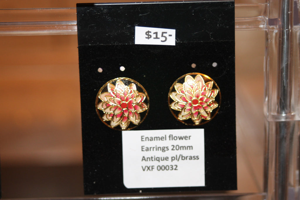 Enamel flower Earrings 20mm Antique pl/brass
