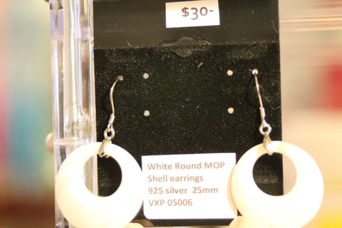 White Round MOP Shell Earrings 925 Silver 25mm