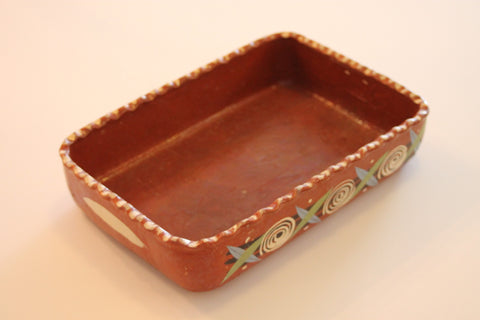 Red Clay Pottery Rectangle Pie Dish - Circles