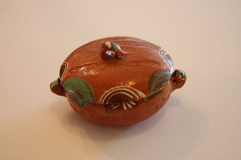 Red Clay Pottery Bowl With Lid
