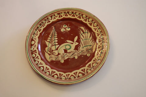 Red Clay Pottery Oval Plate - Rabbit