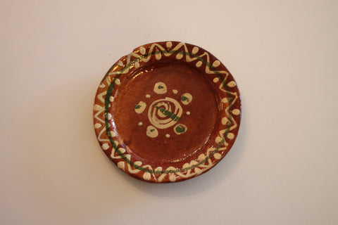 Red Clay Pottery Oval Plate (Small) - Circles