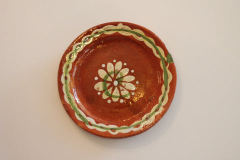 Red Clay Pottery Oval Plate (Small) - Flower