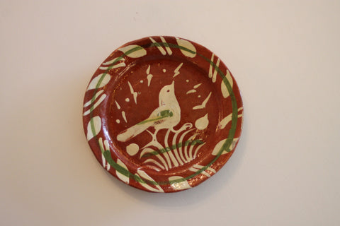 Red Clay Pottery Oval Plate (Small) - Bird