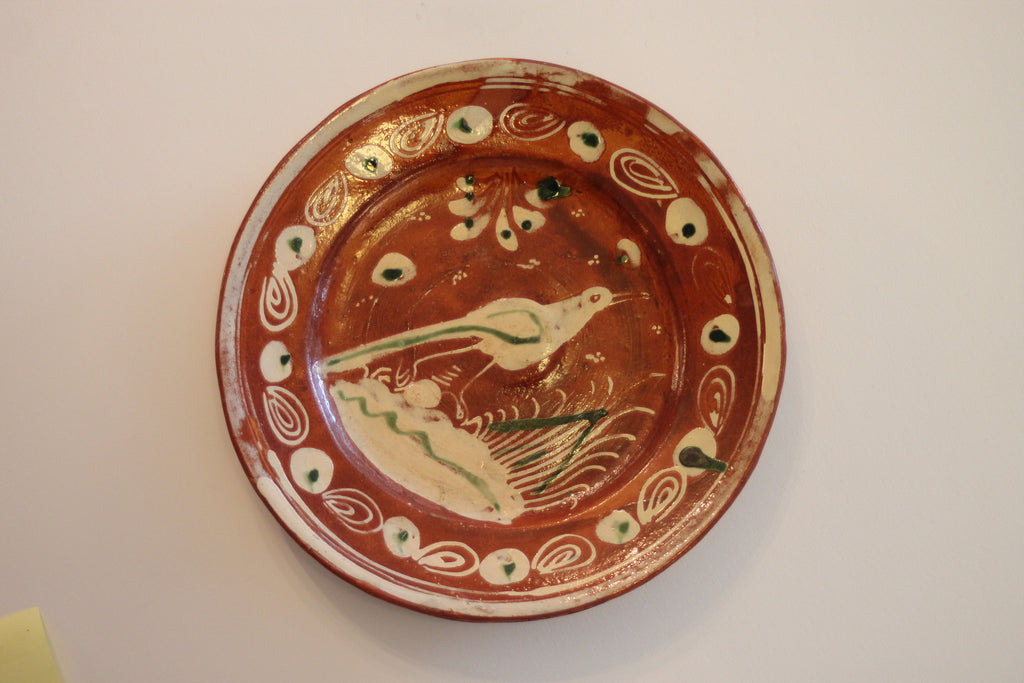 Red Clay Pottery Oval Plate - Bird V