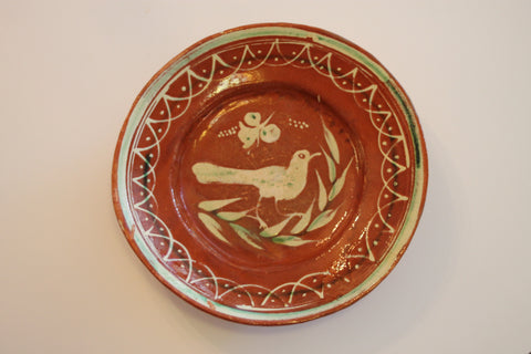 Red Clay Pottery Oval Plate (Big) - Bird