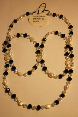 White Nugget Pearl Rope Necklace With Black Chrystals - 40 inch