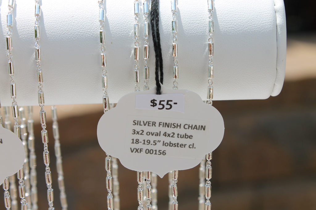 "Silver Finish Chain 3x2 Oval 4x2 Tube 18-19.5"" Lobster Cl."