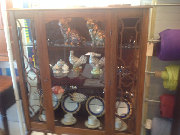 Glass wooden cabinet with lights