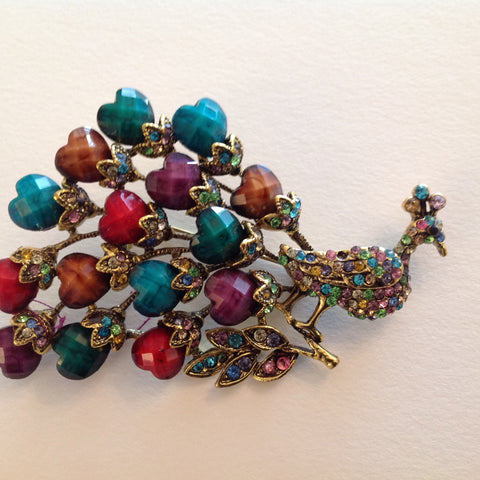 Peacock With Facet cut stones and crystal