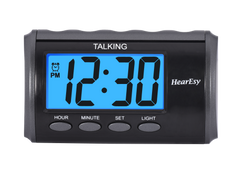 Talking Alarm Clock for Visually Impaired - Large Numbers Desk Clock - Day Clock for Seniors - Battery Operated Large Display Alarm Clock by HearEasy 1714