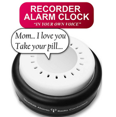 Atomic talking alarm clock – 10 wake up or pill reminder alarm clock (an Option for Talking Watch). record your own alarm message. perfect for vision impaired or blind by 5 senses (1623-mic10)
