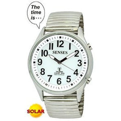 ATOMIC SOLAR TALKING WATCH! SENSES Sets Itself Solar Power Stylist Talking Watch 1035