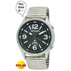 ATOMIC SOLAR TALKING WATCH! SENSES Sets Itself Solar Power Stylist Talking Watch (TC-1034)
