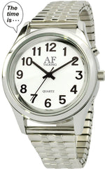 Talking Watch 2nd GENERATION ! Men Silver-Tone Alarm low vision metal Talking Watch (TC-1091)(M106)