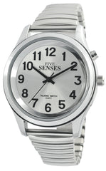 Talking Watch 2nd GENERATION ! Men Silver-Tone Alarm low vision metal Talking Watch 1152