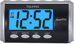 Talking Alarm Clock for Visually Impaired - Large Numbers Desk Clock - Day Clock for Seniors - Battery Operated Large Display Alarm Clock by HearEasy 1714-IPS