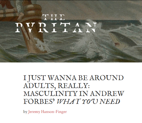 "My essay ""I Just Wanna Be Around Adults, Really"" appears in The Puritan's Fall 2015 issue"