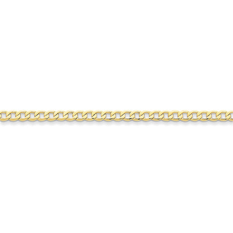 10k Yellow Gold 7in 4.3mm Semi-Solid Curb Link Chain Bracelet