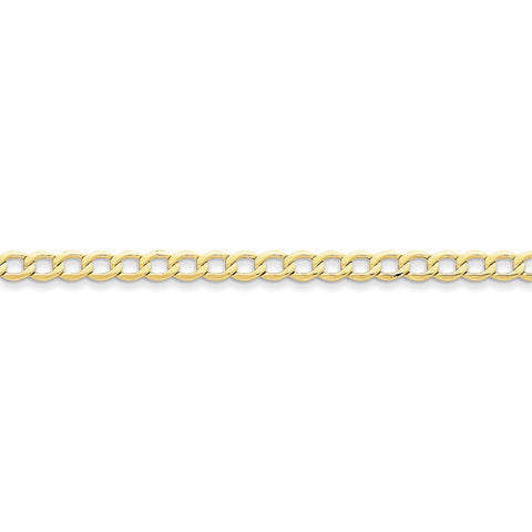 10k Yellow Gold 7in 5.25mm Semi-Solid Curb Link Chain Bracelet