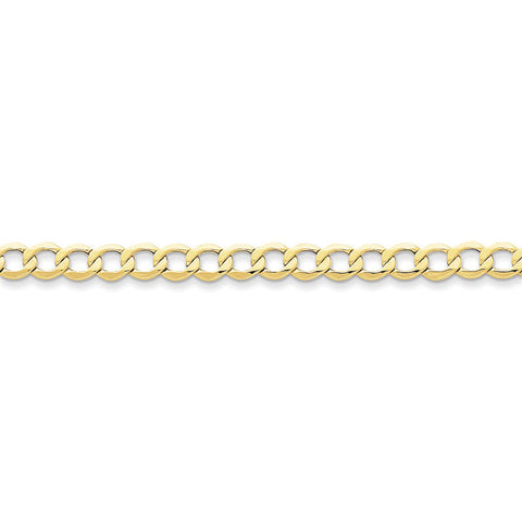 10k Yellow Gold 7in 6.0mm Semi-Solid Curb Link Chain Bracelet