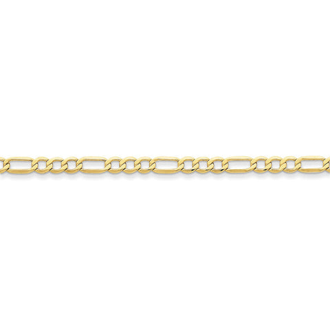 10k Yellow Gold 7in 4.75mm Semi-Solid Figaro Chain Bracelet