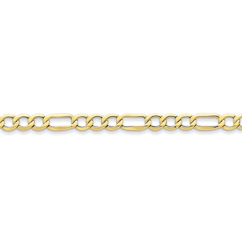 10k Yellow Gold 7in 6.6mm Semi-Solid Figaro Chain Bracelet