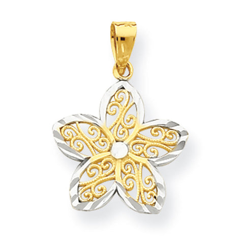 10K Yellow Gold & Rhodium Filigree Flower Pendant