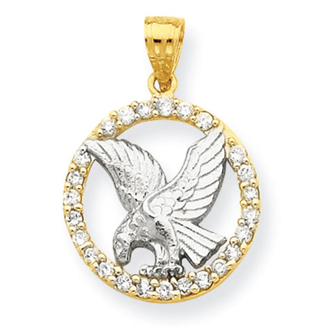 10K Yellow Gold & Rhodium CZ Circle w/ Eagle Pendant