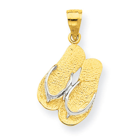 10K Yellow Gold & Rhodium Flip Flops Pendant