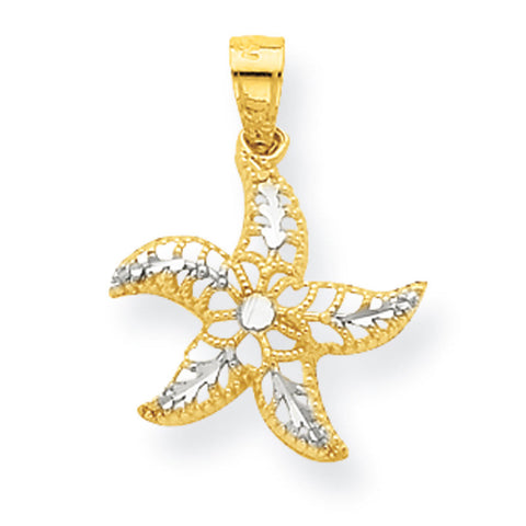 10K Yellow Gold & Rhodium Starfish Pendant