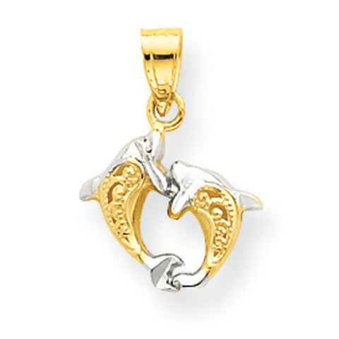10K Yellow Gold & Rhodium Small Dolphin Pendant