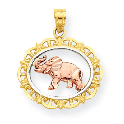 10k Two Tone Gold Elephant Pendant