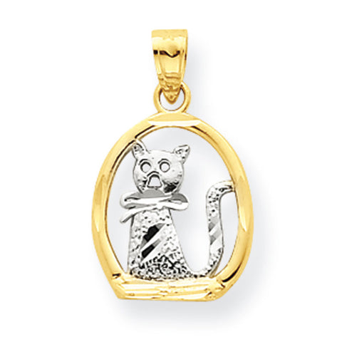 10K Yellow Gold & Rhodium Cat Pendant