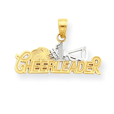 10K Yellow Gold & Rhodium #1 Cheerleader Pendant