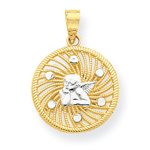 10K Yellow Gold & Rhodium Angel Charm
