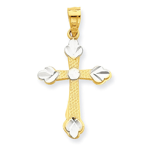 10K Yellow Gold & Rhodium Budded Cross Pendant