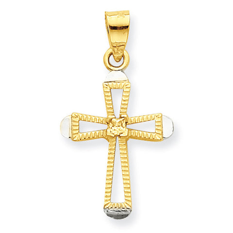 10K Yellow Gold & Rhodium CZ Cross Pendant