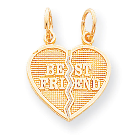 10k Yellow Gold 2 Piece Break-Apart Best Friend Heart Pendant