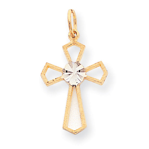 10k Two Tone Gold D/C Cross Charm