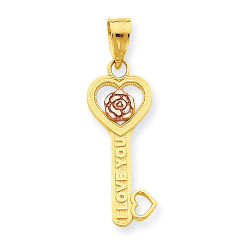 10k Two Tone Gold I Love You Key Pendant