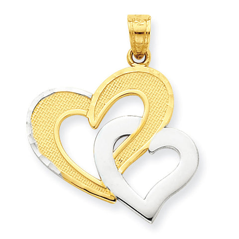 10K Yellow Gold & Rhodium Double Heart Pendant