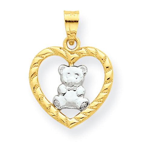 10K Yellow Gold & Rhodium Teddy Bear Heart Pendant