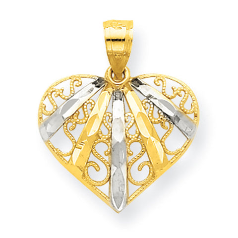 10K Yellow Gold & Rhodium D/C Filigree Heart Pendant